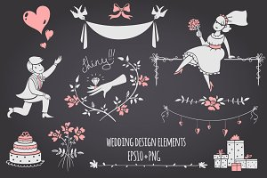 Chalkboard Wedding design elements.