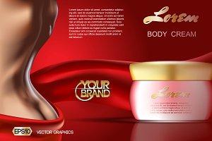 Vector skin care body cream mockup