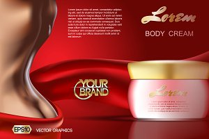 Vector skin care body cream mockup