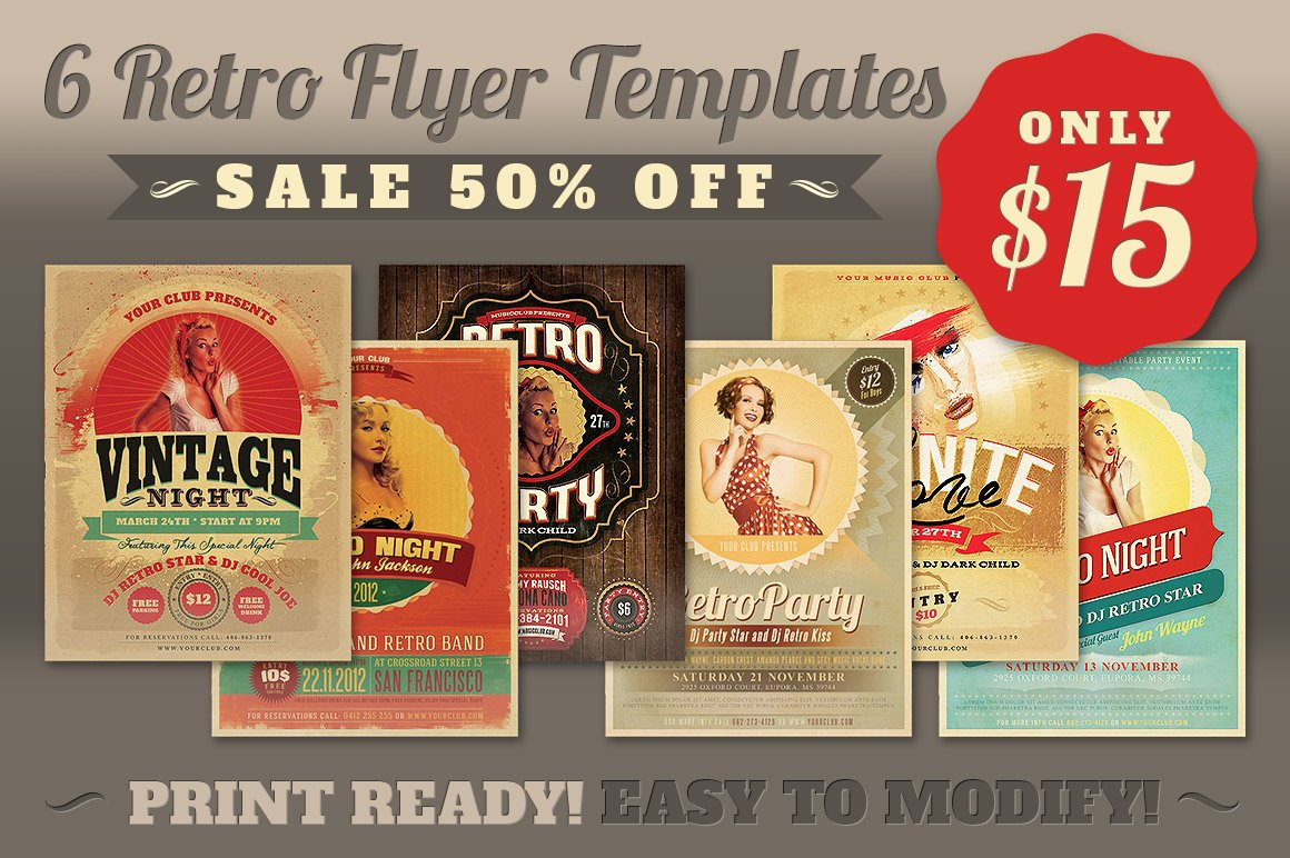 Retro Party Flyer Template Flyer Templates on Creative Market – Retro Flyer Templates