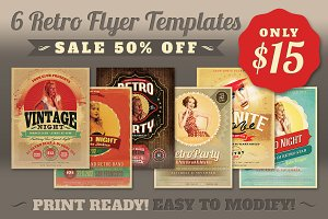 SALE: 6Retro Flyer Templates 50% Off