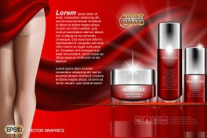 Vector red skin care body cream legs