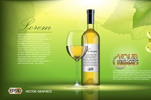 Vector realistic wine bottle mockup