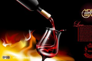 Vector realistic wine pouring mockup