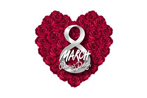red rose heart 8 march women day
