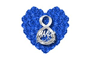 Womans Day. 8 march rose heart