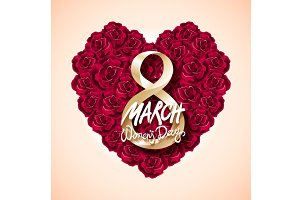 Womans Day 8 march rose heart vector
