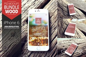iPhone 6 Mockups set Wood