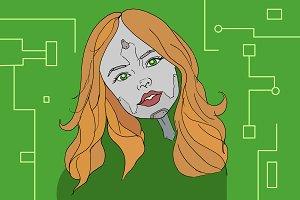 Robo girl vector