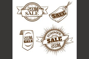 Retro Sale Labels. Etching style.