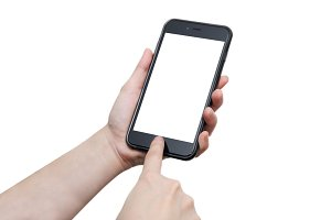 hand touching phone with blank space