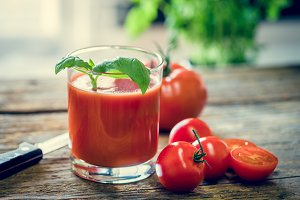 Tomato juice in the glass