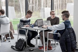 Students coworking at library