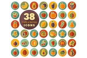 Set of Fruits and Berries flat icons