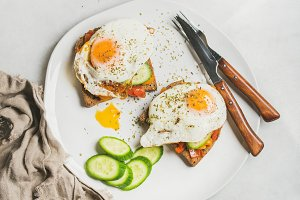 Breakfast toast with fried eggs