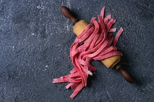 Pink beetroot fresh pasta