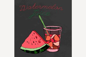 Hand Drawn Watermelon Juice Image