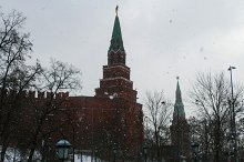 Borovitskaya Tower of the Kremlin in winter