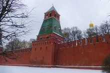 Kremlin Wall in winter, snow