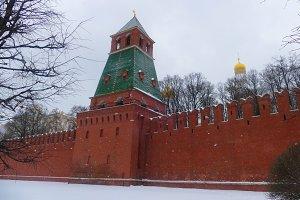 Kremlin Wall in winter, snow