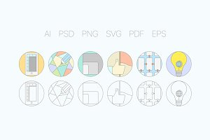 Digital Agency Flat Icons S2