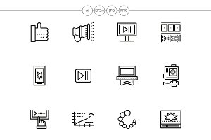 V-blog black line icons set