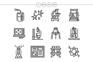 Chemistry black line icons set