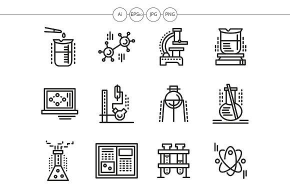 Chemistry black line icons set
