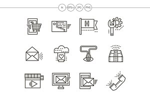 Online services black line icons set