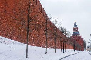 Kremlin Wall in winter, snow,
