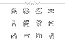 Chairs and tables black line icons