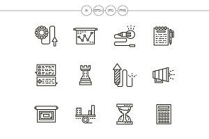 Business tactic black line icons set