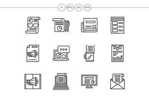 Newsletter black line icons set
