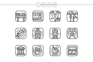 Railway black line icons set