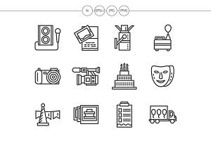 Event agency black line icons set