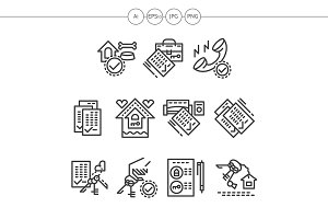 Real estate black line icons set