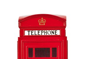 Red British telephone booth