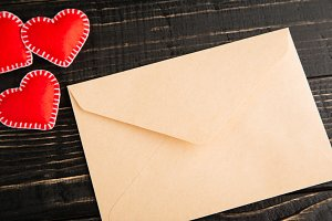 Love letter on the wooden table