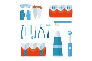 Dentist stomatology equipment vector illustration.