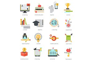 Online education icons vector set distance school symbols.