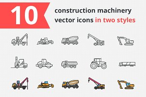 Constraction machinery vector icons