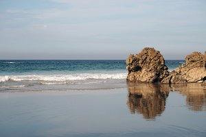 Rocks and reflections at beach