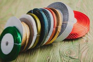 Colorful ribbon rolls