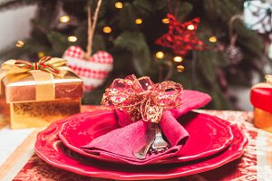 The Christmas tableware