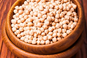 Chickpea in a wooden bowl