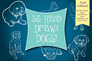 Hand Drawn Dogs & Puppies!