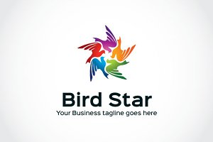 Bird Star Logo Template