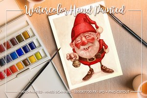 Watercolor hand-painted GNOME