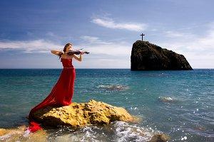 woman and sea beach