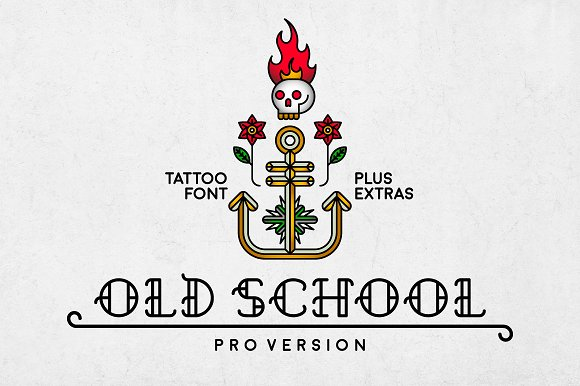 Old School - cool tattoo retro font in Slab Serif Fonts - product preview 6